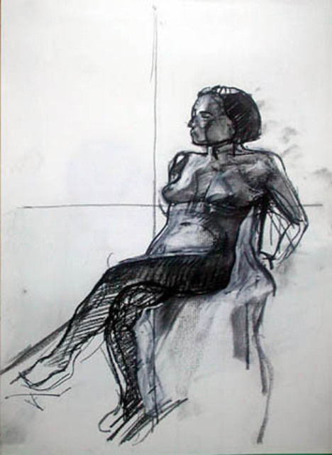 Artist Timothy King. 'Model Seated' Artwork Image, Created in 2003, Original Pastel Oil. #art #artist