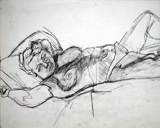 Timothy King Artwork Reclining Model, 1998 Pencil Drawing, Nudes