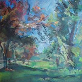 Timothy King Artwork Redbuds by Highway 20 Overpass Elgin, 2008 Pastel, Abstract Landscape