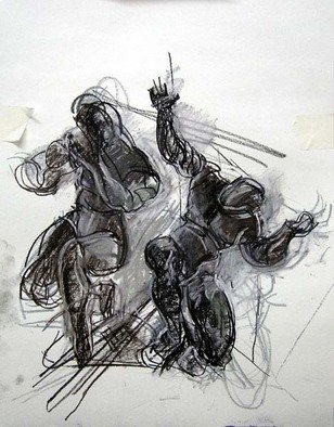 Artist: Timothy King - Title: Study of right corner figures - Medium: Charcoal Drawing - Year: 2004