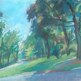 Timothy King Artwork Wing Park Roadway, 2008 Pastel, Abstract Landscape