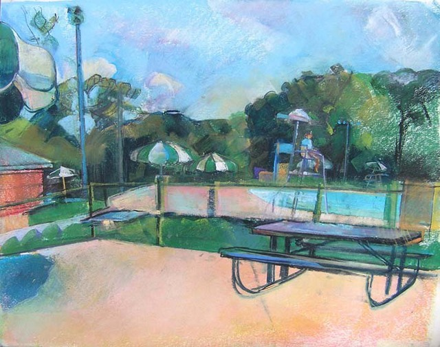 Timothy King  'Wing Park Swimming Pool', created in 2007, Original Pastel Oil.