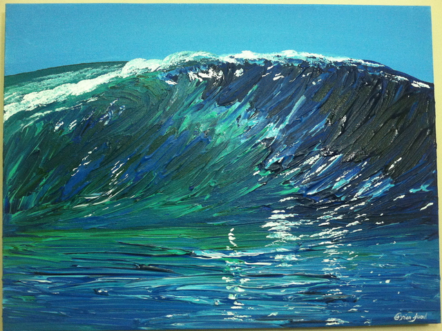 timothy sword artwork wave original painting acrylic beach art