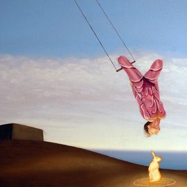 Tim Murphy: 'Above The Goal', 2000 Oil Painting, Flight. Artist Description:   flying, woman, shore, ocean, trapeze, castle island, bunny, glow, sea, flight, float, fantasy, enlightenment, tim, murphy, Boston, dock, bird, calm, peaceful  ...