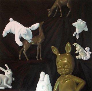 Tim Murphy Artwork 'Deer Bunnies', 2006. Oil Painting. Animals. ...