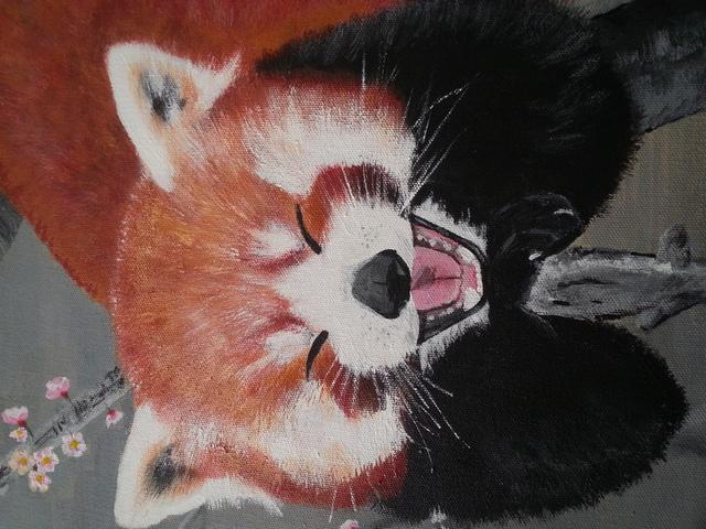 tina beck artwork red panda original painting acrylic