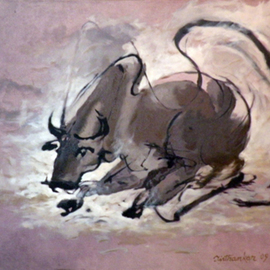 Tirthankar Biswas: 'BULL', 2009 Oil Painting, Figurative.