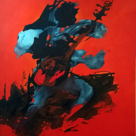 Tirthankar Biswas: 'Djentleman', 2014 Oil Painting, Figurative. Artist Description:     Musician playing agauiter       ...