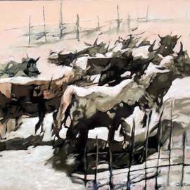 Tirthankar Biswas: 'Homeward', 2008 Oil Painting, Figurative. Artist Description:  A group of cattle are returning home after the day ...