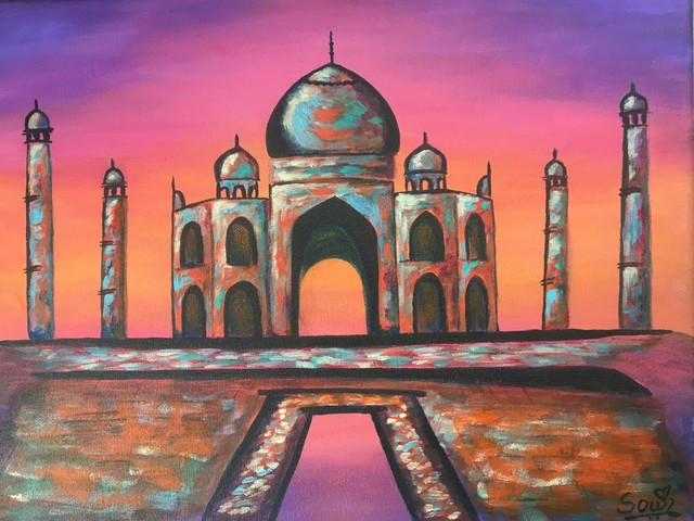 Sowjanya Tirunagari  'The Excotic Taj', created in 2020, Original Painting Acrylic.
