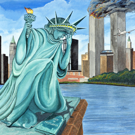 Robert Tittle: 'PERILS OF LIBERTY   ', 2004 Acrylic Painting, War. Artist Description:  Acrylic Paintings/ Liberty/ Art by Tittle/New York/ World conflict/ Statue of Liberty/     ...