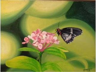 Robert Tittle: 'butterfly', 2004 Oil Painting, Botanical. Artist Description: Butterfly, Flowers,   Glass    ...