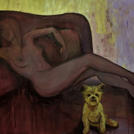 Tiziana Fejzullaj Artwork Dog in Bed, 2016 Oil Painting, Nudes