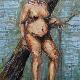 Tiziana Fejzullaj Artwork In the Woods, 2016 Oil Painting, Nudes