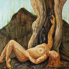 Tiziana Fejzullaj Artwork Leaning by the Tree, 2016 Oil Painting, Nudes