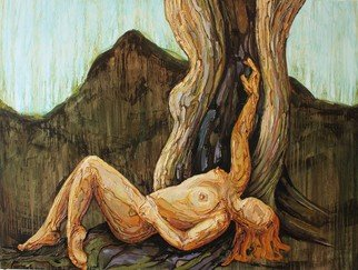 Tiziana Fejzullaj: 'Leaning by the Tree', 2016 Oil Painting, nudes.  Leaning by the Tree ...