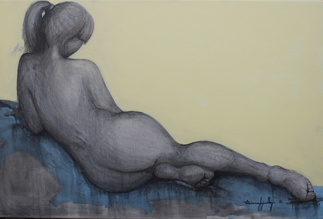 Tiziana Fejzullaj  'Lying Nude', created in 2015, Original Painting Acrylic.