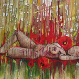 Tiziana Fejzullaj Artwork Lying with Poppies, 2014 Acrylic Painting, Nudes