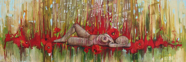 Artist Tiziana Fejzullaj. 'Lying With Poppies' Artwork Image, Created in 2014, Original Painting Acrylic. #art #artist