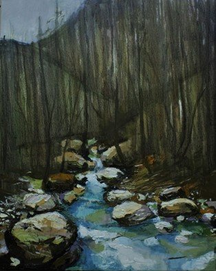 Tiziana Fejzullaj Artwork Mountain River, 2016 Oil Painting, Mountains