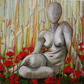 Tiziana Fejzullaj Artwork Nude in a Poppy Field, 2014 Oil Painting, Nudes