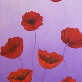 Tatyana Leksikova Artwork Poppies Blossom, 2011 Oil Painting, Floral