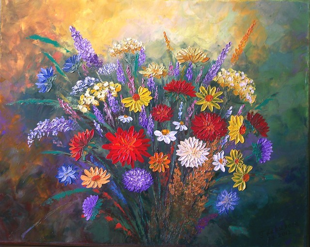 Tatyana Leksikova  'Summer Bouquet', created in 2012, Original Painting Oil.