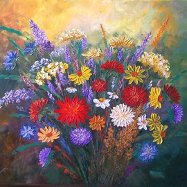 Tatyana Leksikova Artwork Summer Bouquet, 2012 Oil Painting, Floral