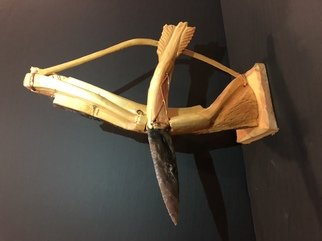 Tony Maez: 'broken arrow', 2019 Wood Sculpture, Indiginous. Artist Description: This is a beautiful piece it is a bow and arrow and the arrow has an authentic absidian stone spear head. ...