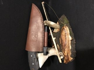 Tony Maez: 'good day of fishing', 2019 Wood Sculpture, Animals. Artist Description: This piece is made from choke cherry wood it has a day of fishing all on one piece. Very nice detail great knife to accent this piece. ...