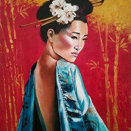 Krisztina T.molnár: 'Harmony', 2020 Acrylic Painting, Figurative. Artist Description: AsiaaEURtms brilliant past appears on a traditional girl wearing a turquoise dress.  Turquoise encompasses the spirit, facing the human body, serenity and harmony, emotionality and intuition.  Red and gold, helps bring light and joy back to life, warms the house, and casts out evil spirits. ...
