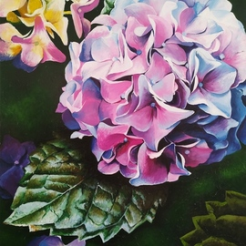 Krisztina T.molnár: 'hydrangea', 2019 Acrylic Painting, Floral. Artist Description: Looking at the multitude of wonderful petals, one is lost in the same way as in his thoughts before enlightenment. This is how the Chinese consider this, associating this beautiful plant with light and clairvoyance. ...