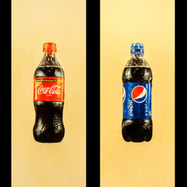 Todd Mosley: 'Coke Versus Pepsi Diptych', 2009 Oil Painting, Still Life.