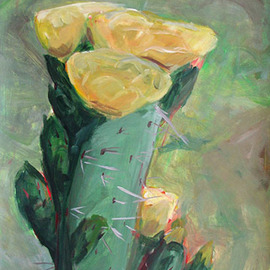 S Tofu: 'Spring Cactus', 2007 Acrylic Painting, Southwestern. Artist Description:   acrylic on paper   ...