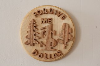 Wood Sculpture by Anatoly Karpov titled: Wooden Coin, 2014