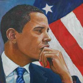 Tomas Omaoldomhnaigh Artwork Obama in reflection, 2009 Oil Painting, Figurative