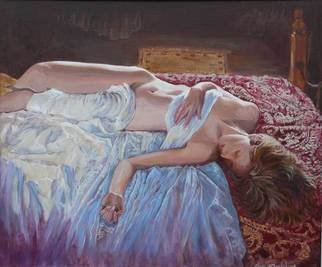 Tomas Omaoldomhnaigh: 'Peaceful Morn', 2009 Oil Painting, Figurative.  Nude, Nudes, Figurative, girl, woman, reclining, bed, pose, naked, Co Clare, Ireland,  Irish, Ennis, ...