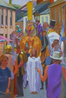 Tom Henderson Smith: 'Lafrowda 2014', 2014 Acrylic Painting, Figurative.     exotic, summer, Cornwall, festival, carnival         Young women dance in the fire- light.     ...
