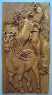 Ton Dias Artwork Horses wood carving , 2012 Horses wood carving , Equine