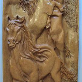 Ton Dias: 'Horses wood carving ', 2012 Wood Sculpture, Equine. Artist Description:  Horse wood carving created by Ton Dias, brazilian wood carver and sculptor. ...