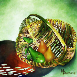 Miriam Besa: 'avocado and pears in basket', 2018 Oil Painting, Sea Life. Artist Description: Avocado with 2 pears in a basket in a photo pose - a patterned reflection shadow of the basket against a green filtered background adds drama to this setting. Green cast on some parts of the basket accentuates the delicious avocado in contrast to the rich looking pears. ...