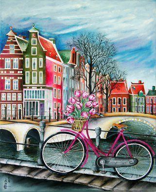Miriam Besa: 'bike stop in amsterdam', 2014 Oil Painting, Travel. Artist Description: bike, Amsterdam, canal, storm, clouds, bare trees, tulips, magenta, colorful, houses, side walk, basket of tulips, blooming, dramatic, railings, cycling, bicycle, paths, ...