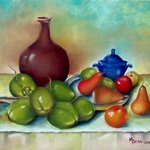 ensemble of coconut and fruits By Miriam Besa