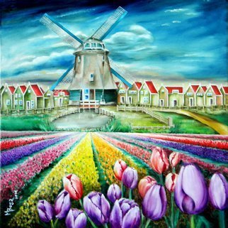 Miriam Besa: 'field of tulips', 2015 Oil Painting, Travel. Artist Description: Amsterdam, village, windmill, ponds, houses, tulip bulbs, tulips in full bloom, clouds, quaint town, water, red, purple, pink, yellow, orange, landscape, sunshine, pond, water...