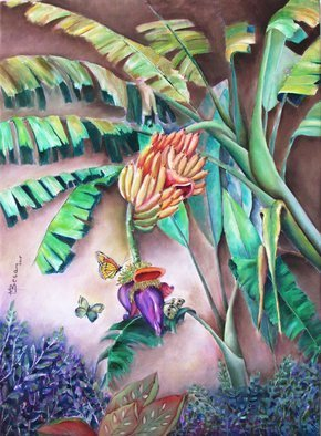 Miriam Besa: 'lakatan banana', 2019 Oil Painting, Nature. Artist Description: greens, banana, lakatan, butterflies, vegetation, purples, greens, yellow, heart, browns, tropical, ripe, fruit, blooms, playful, grace, serene, atmosphere, echoes, stillness, canvas, abundance. animation, ...