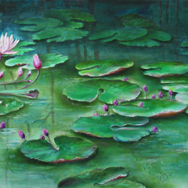 Miriam Besa: 'lotus pond', 2019 Oil Painting, Healing. Artist Description: A pond with lotus lilies and sprouting lily buds - reflections of the forest behind it, endless leaves floating to almost infinity. . . . . . a soothing, peaceful and a mystic effect. ...