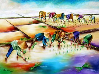 Miriam Besa: 'planting rice', 2016 Oil Painting, Culture. Artist Description: This painting captures the traditional farm life on a hot sunny day. No dark colors are used to produce a feeling of tranquility and peace. I used yellows, oranges and purples to reflect the true Filipino soul of endurance and hard work. The treatment of the clouds merging ...