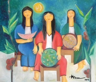Miriam Besa: 'three women vendors', 2004 Oil Painting, Culture. Artist Description: The tropical colors of the island burst with these three women vendors selling watermelon, manzanita and dried fish.  On each side are giant aEUR~chicosaEURtm a tropical fruit.  This is a typical vendor scene in the Philippines, executed with a unique modern style.  Beautiful women with elongated necks, in ...