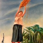 Woman Shifting Rice, Miriam Besa