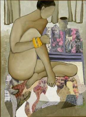 Miriam Besa: 'woman with orange bracelet', 2002 Collage, Nudes. Artist Description: Woman in nude with an orange bracelet sits on a rug designed with paper collage of shapes, color and patterns.  This painting is framed.  Overall size with frame is: 23x29...